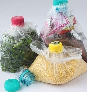 Reuse plastic bottles to close up plastic bags