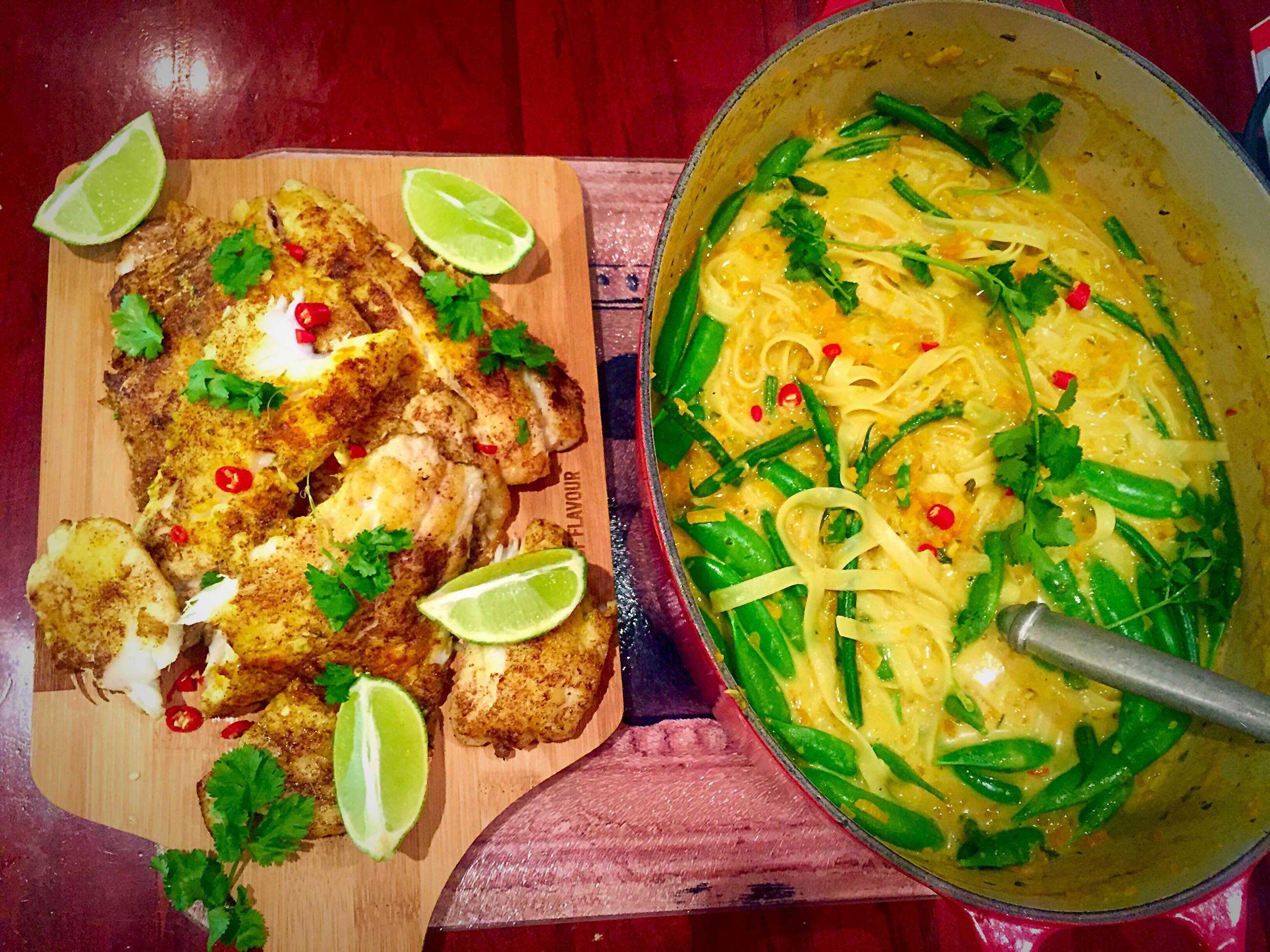 Thai fish laksa young and hungry laksa is a popular spicy coconut noodle soup which is a combination of chinese and malay cuisine this recipe is adapted from jamie olivers 15 minute forumfinder Images