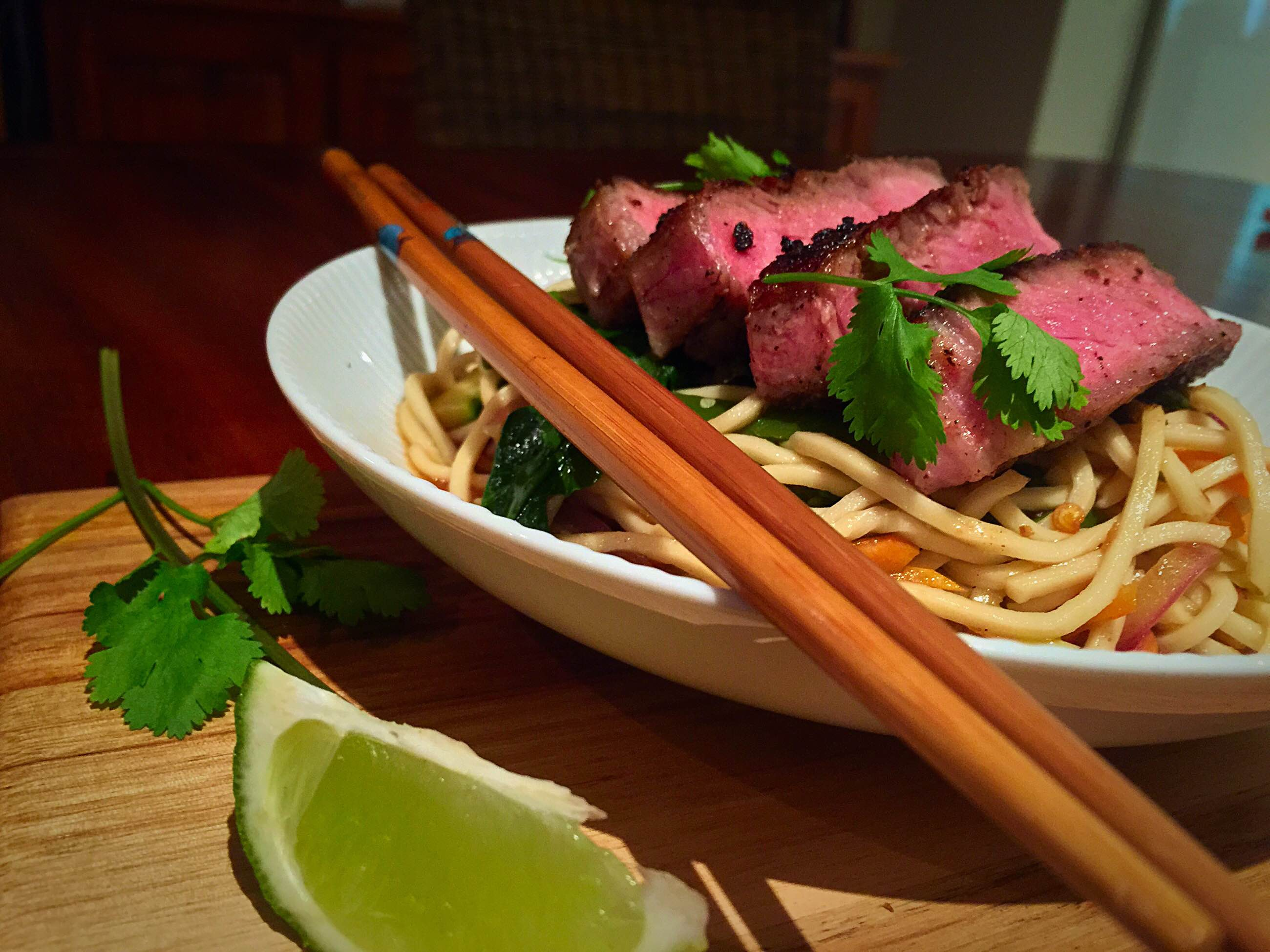 Chinese Coriander Crusted Steak & Noodles | Young and Hungry