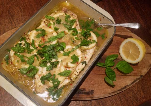 Baked lemon and basil fish